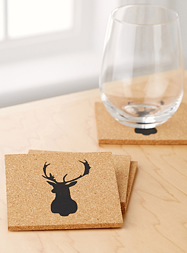 Deer cork coasters  Set of 4