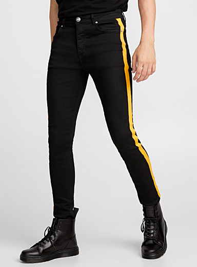Sporty stripe stretch jean
