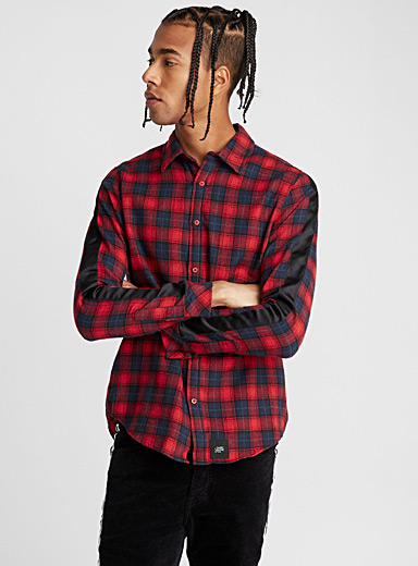Black accent tartan flannel shirt