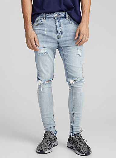 Distressed zip-ankle jean  Super skinny fit