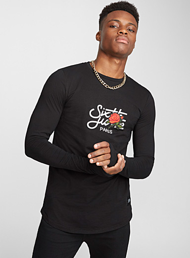 Embroidered rose logo tee