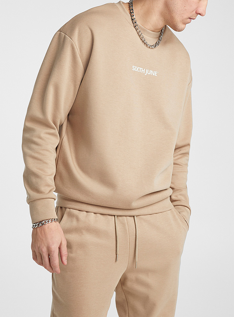 Sixth June Cream Beige Minimalist logo sweatshirt for men