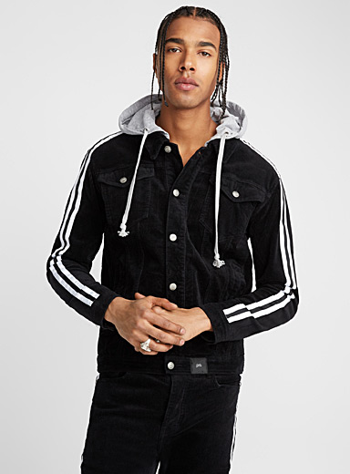 Athletic stripe corduroy jacket