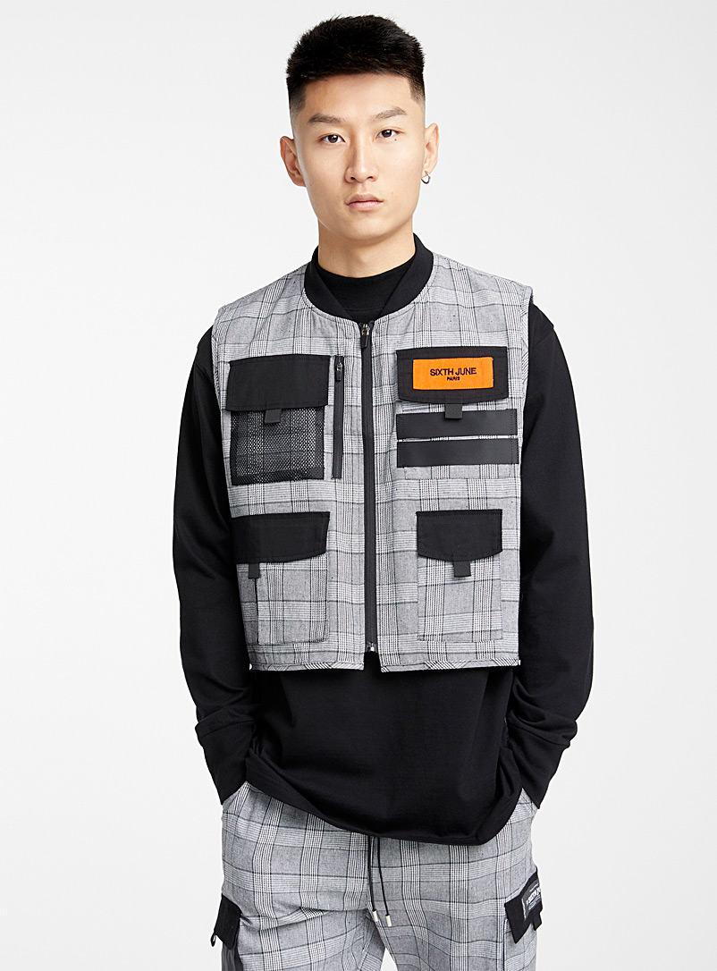 Sixth June Grey Checked utility vest for men