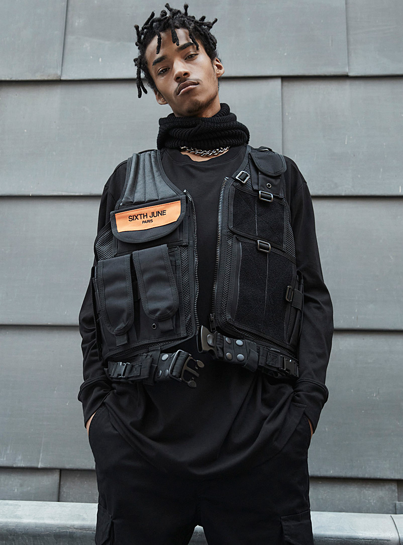 Sixth June Black Special squad utility vest for men