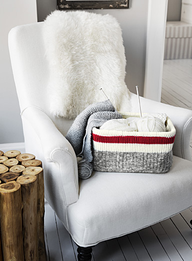Wool-sock stripe basket