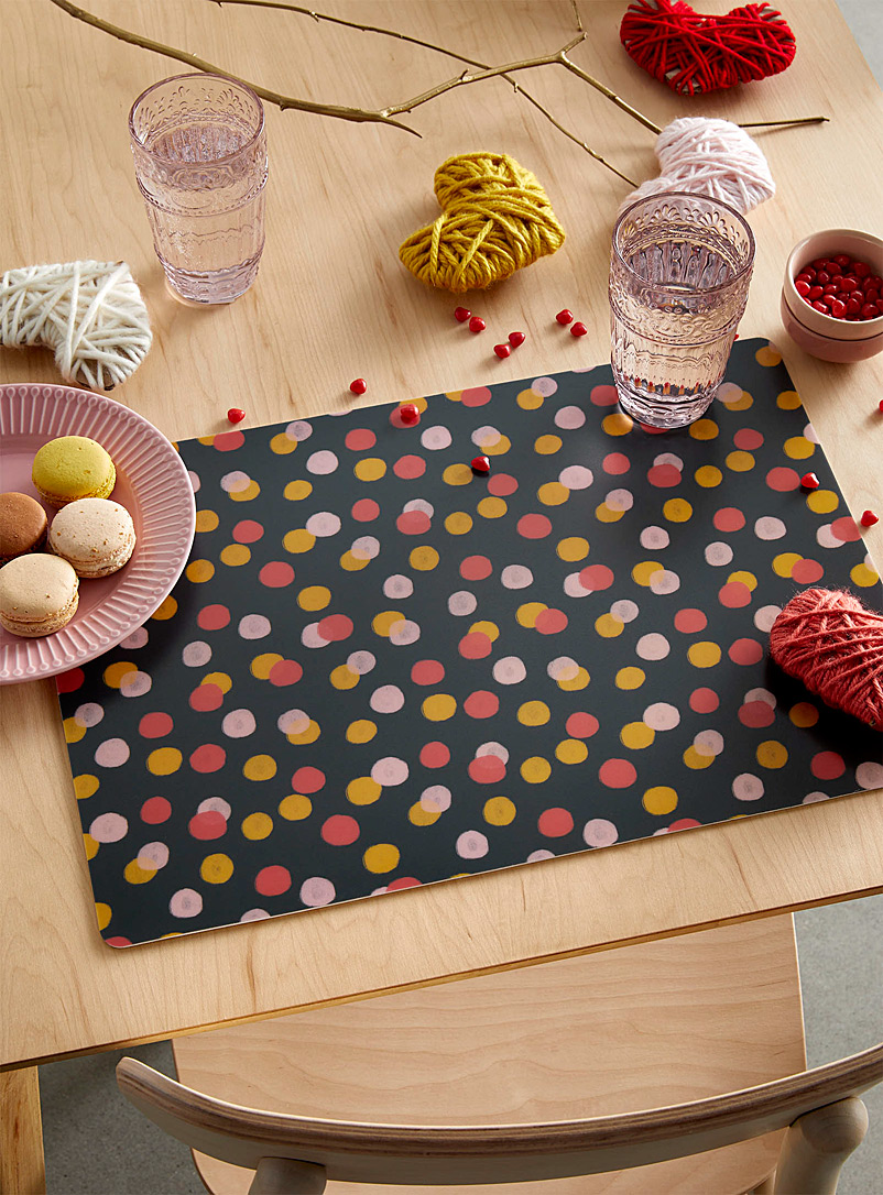 Simons Maison Patterned Black Candy-coloured dot placemat