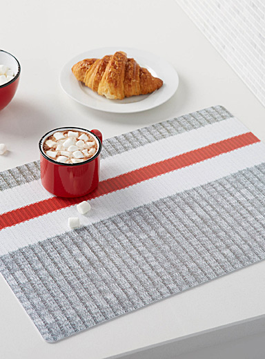 Wool-sock stripe vinyl place mat