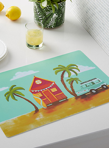 Beach cottage vinyl placemat