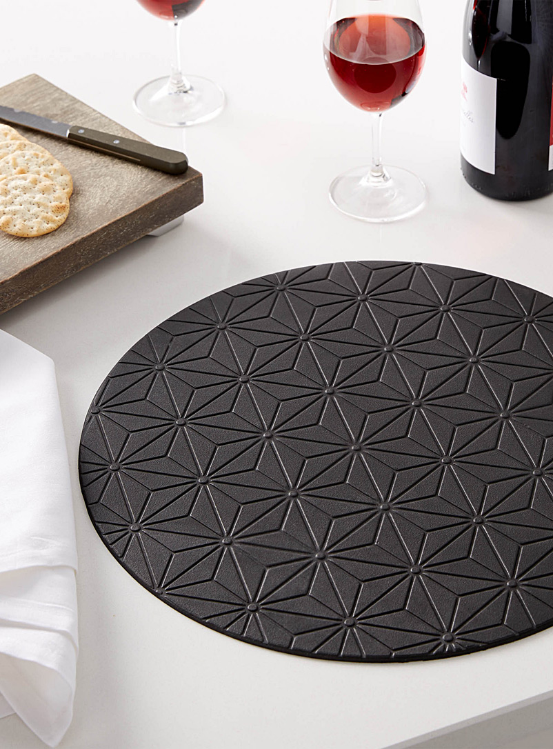 Etched mosaic place mat - Vinyl - Black