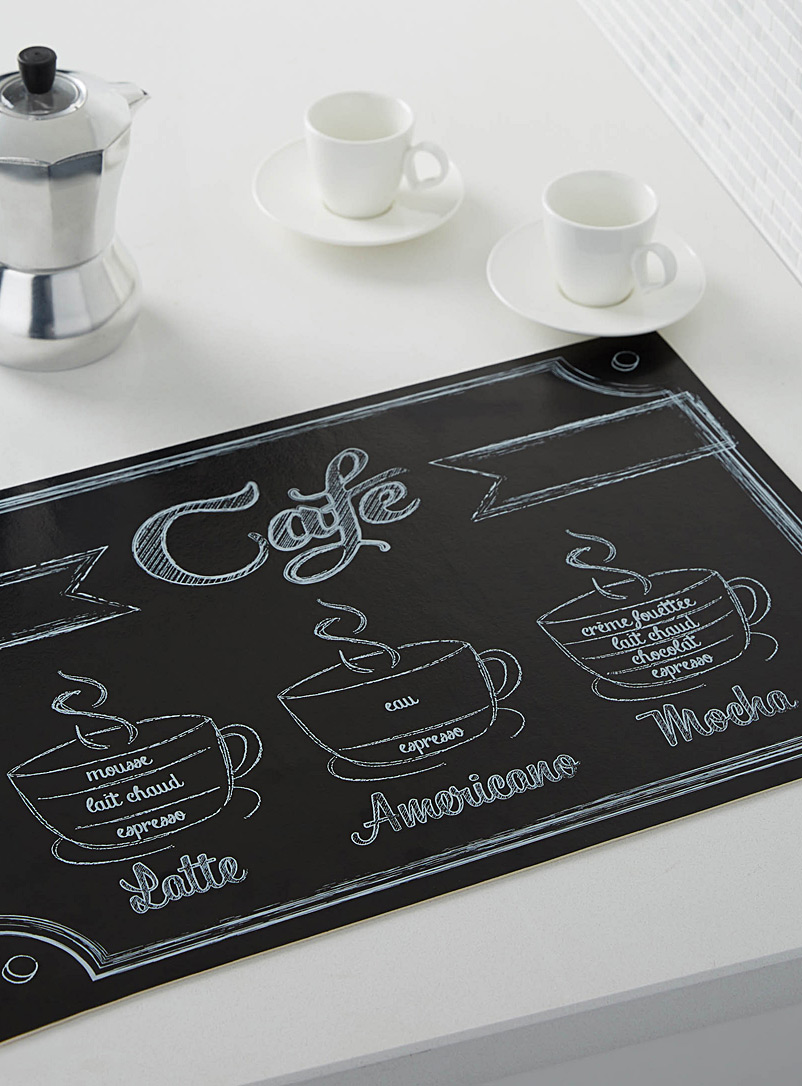 Café slate vinyl place mat - Vinyl - Patterned Black
