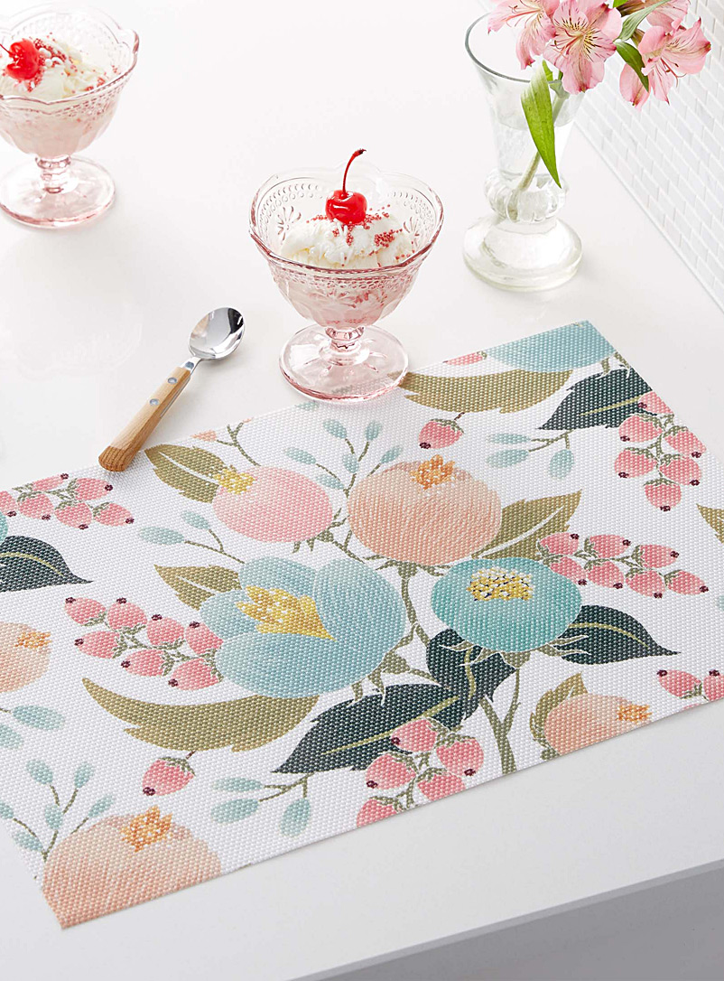 Spring bouquet braided vinyl placemat - Vinyl - Assorted
