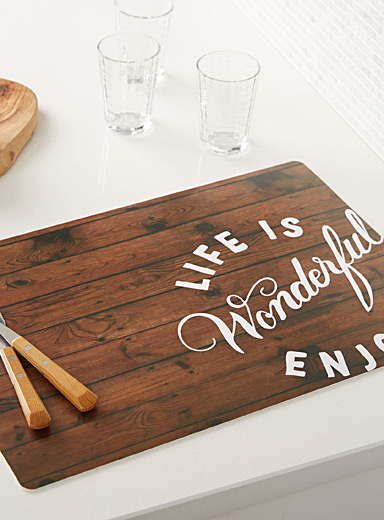 Life is wonderful vinyl place mat