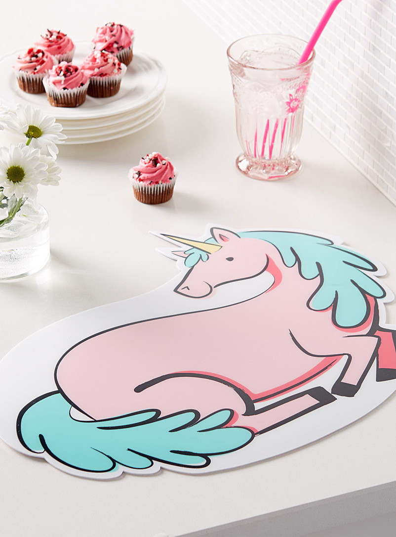 Pink unicorn vinyl placemat