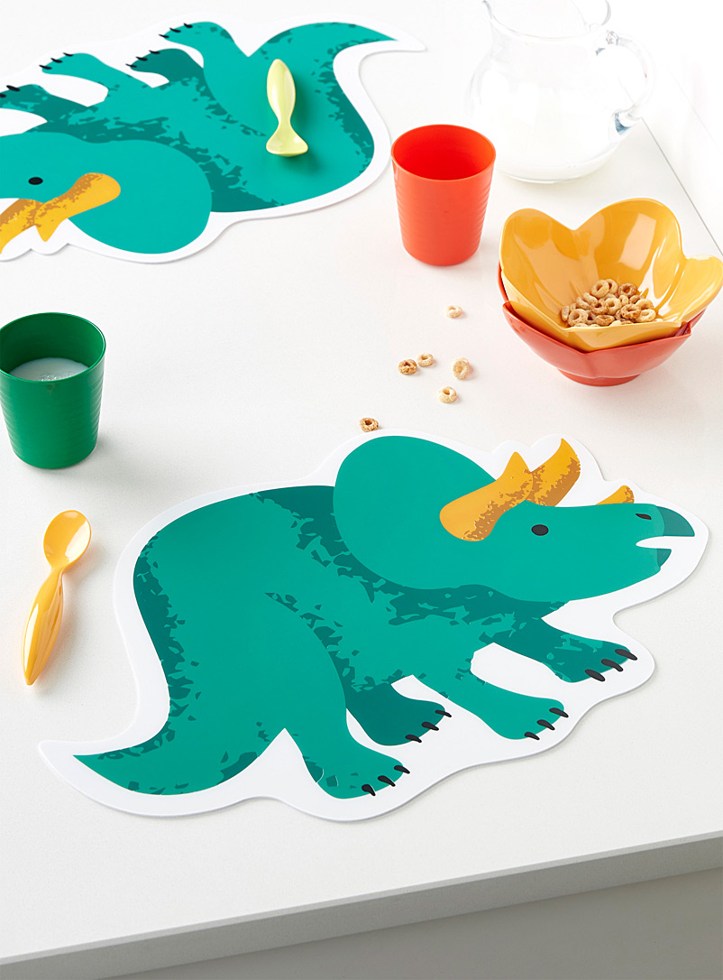 Simons Maison Green Triceratops placemat
