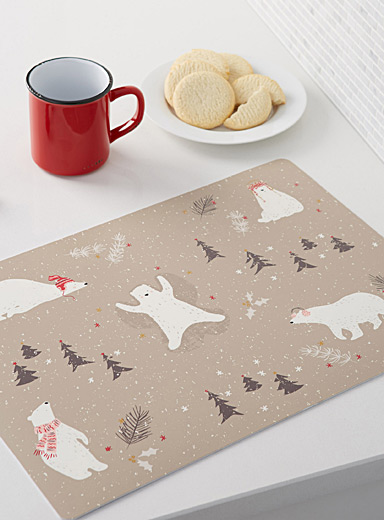 Winter fun vinyl place mat