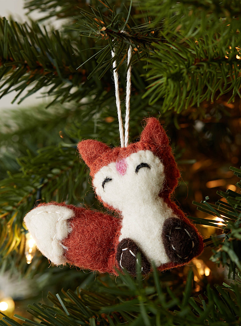 Simons Maison Patterned Orange Fox felt ornament
