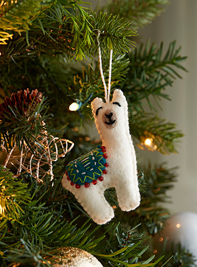 Merry llama wool ornament
