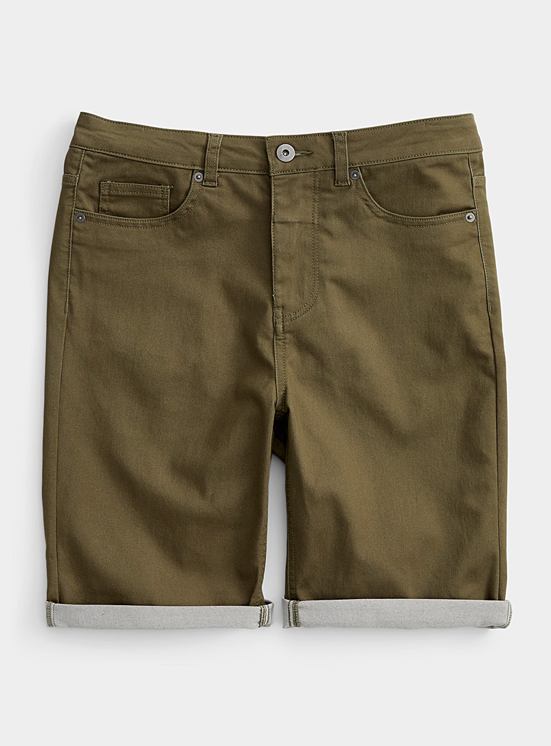 Djab Mossy Green Rolled stretch Bermudas for men