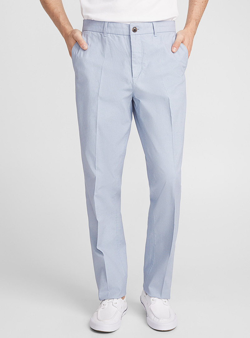 Optical pattern pant  London fit-Slim straight - Straight slim fit - Baby Blue