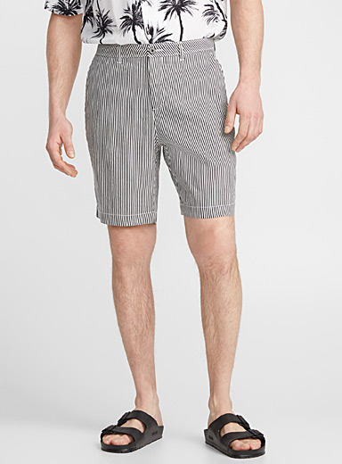 Black-and-white striped Bermudas