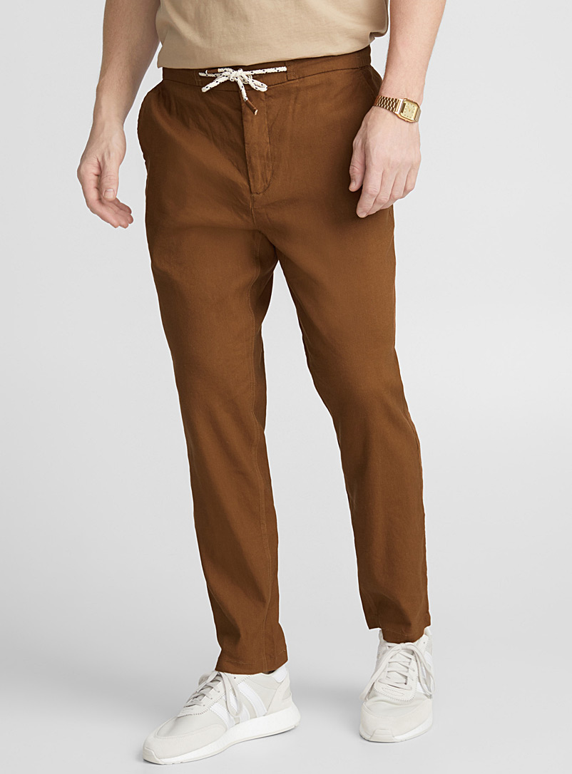 Stretch linen jogger pant   - Straight slim fit - Brown