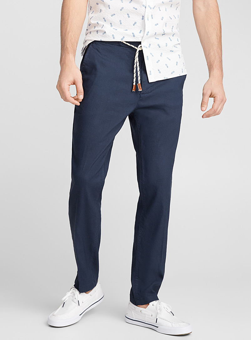 Stretch linen jogger pant   - Straight slim fit - Blue
