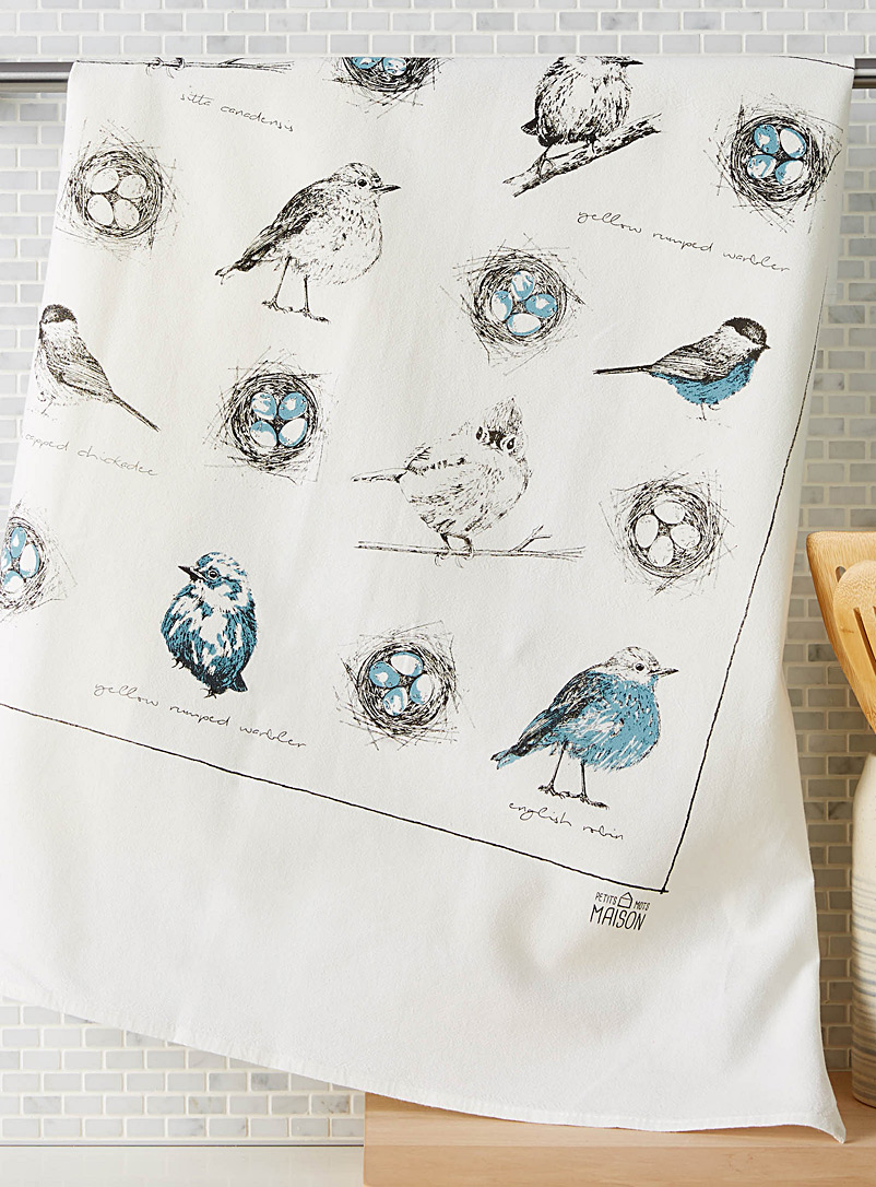 Nesting birds tea towel - Kitchen Linens - Patterned White