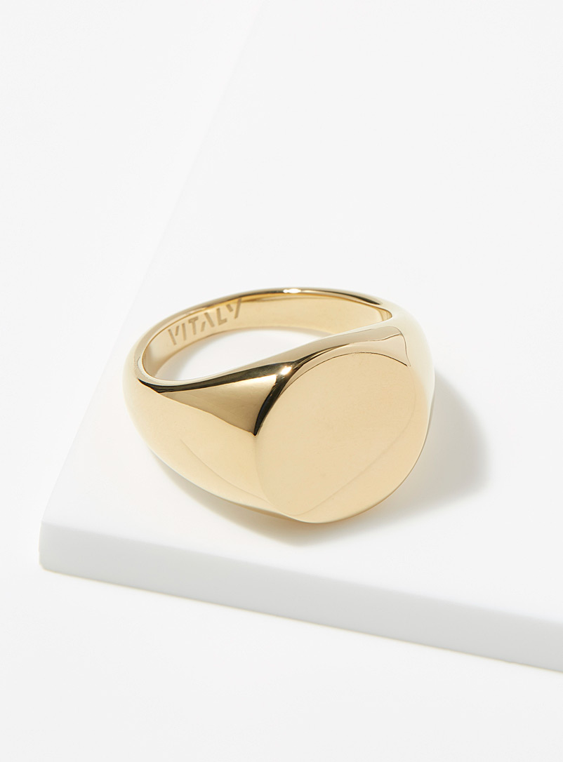 Vitaly Golden Yellow Rey signet ring for men