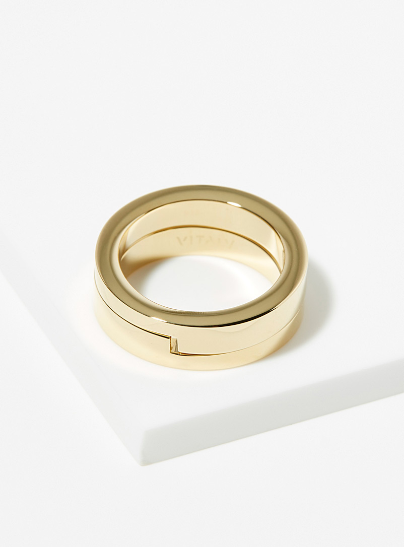 Vitaly Golden Yellow Gridlock rings for men