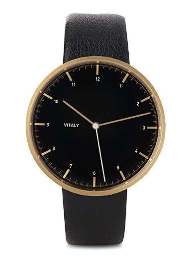 Leather and golden stainless steel Soho watch