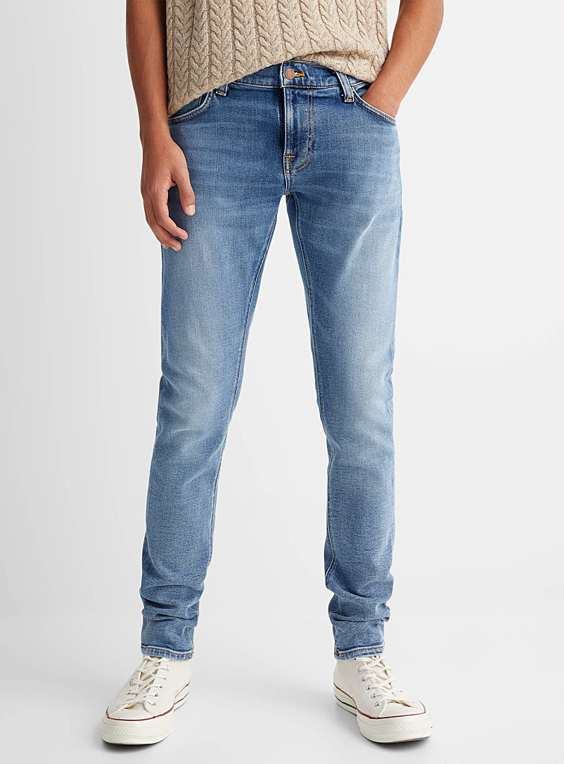 Nudie Jeans Blue Tight Terry faded blue jean Skinny fit for men