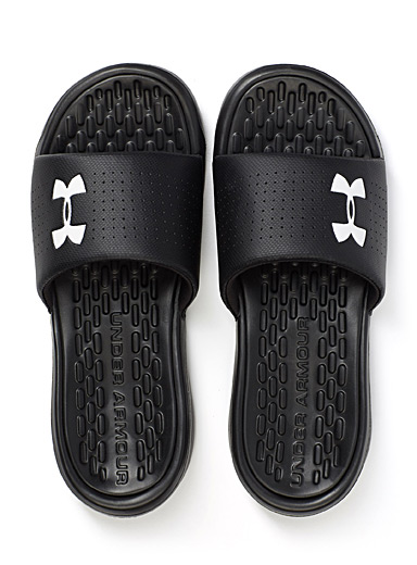 Under Armour Black Playmaker slides for men