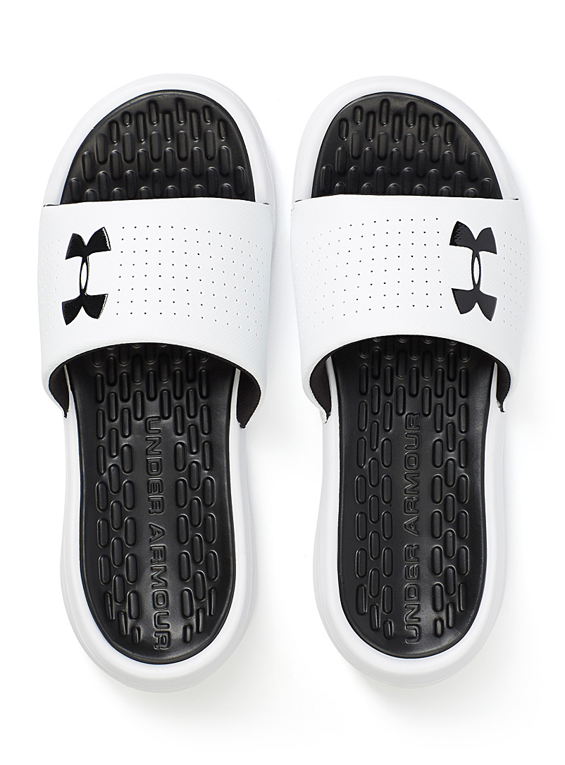 Under Armour White Playmaker slides for men