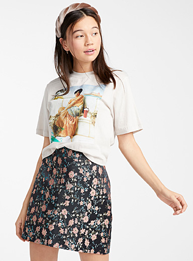 Gold-threaded floral skirt