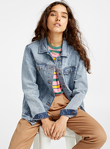 Twik Blue Oversized boyfriend jean jacket for women