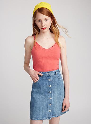 Accent-button embroidered denim skirt
