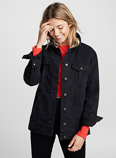 Loose black boyfriend jean jacket