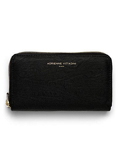 Floral lined double-zip wallet