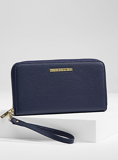 Simons Blue Grained faux-leather wallet for women