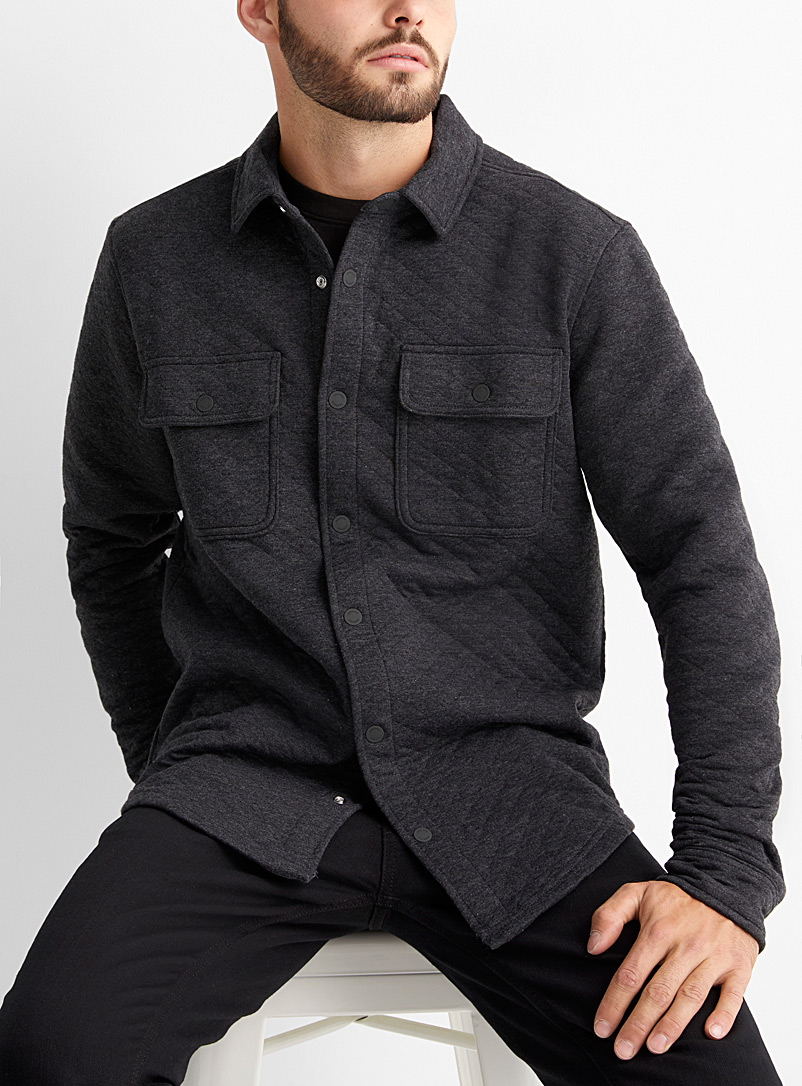 Tentree Black Colville quilted overshirt for men