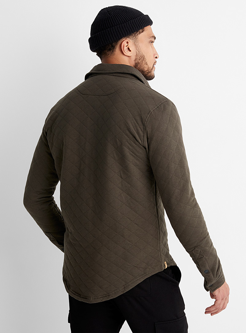Tentree Green Quilted jersey overshirt for men
