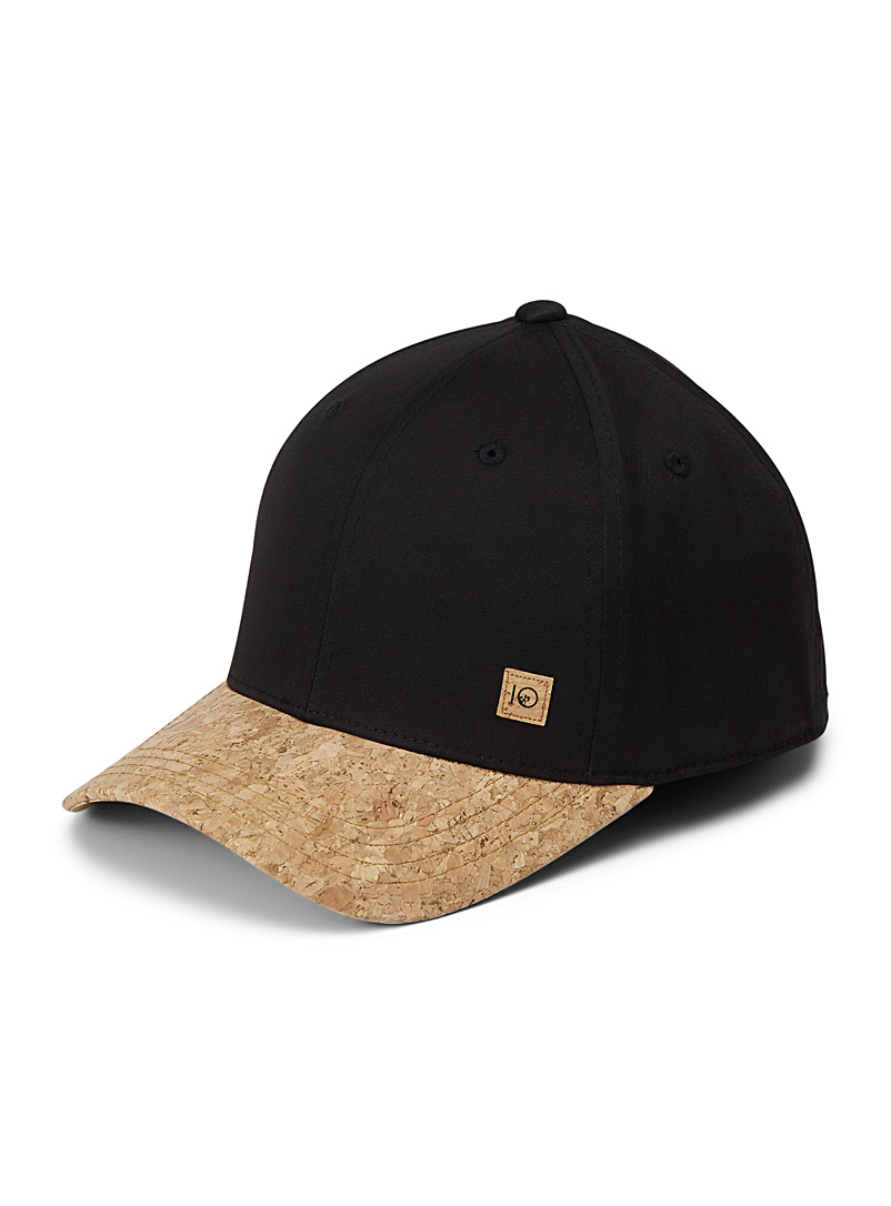 Tentree Black Thicket cork visor cap for men