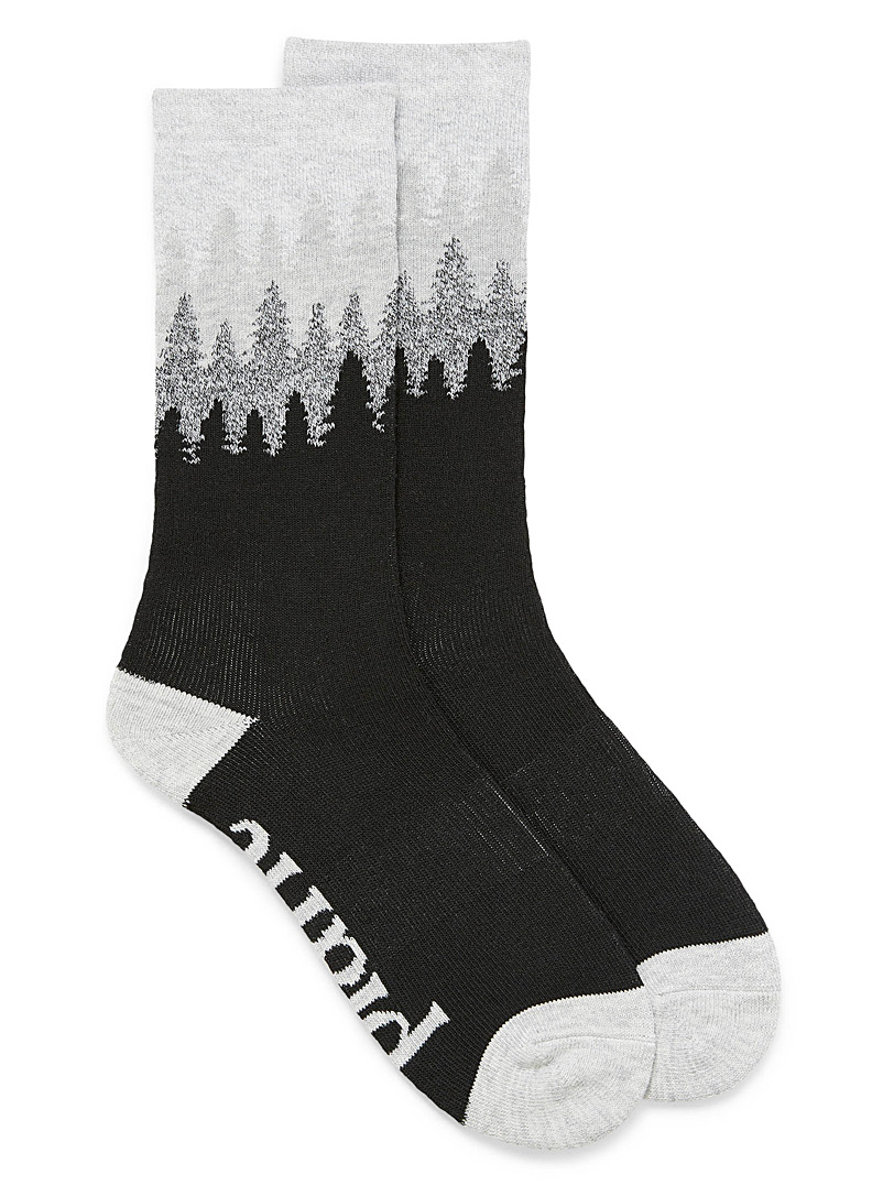 Tentree Patterned Black Selkirk Juniper long recycled polyester socks for men