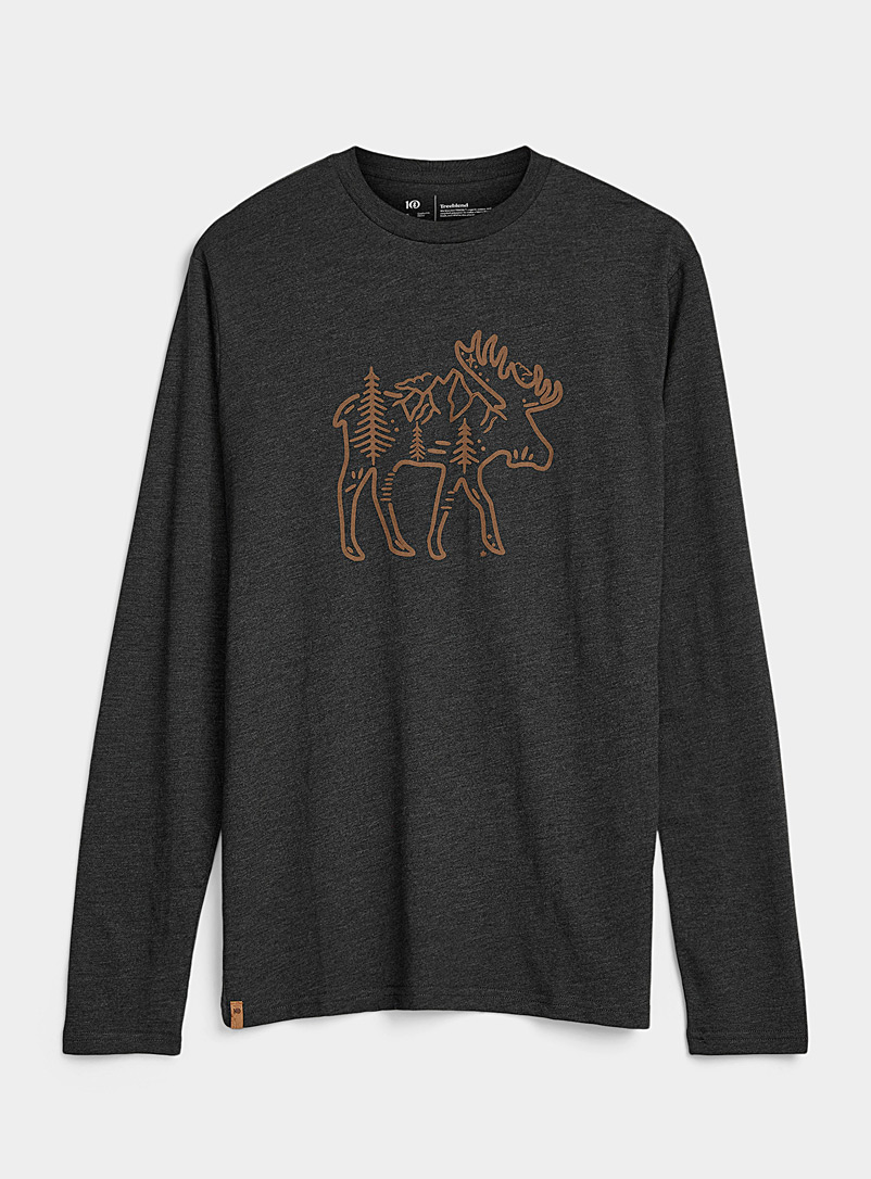 Tentree Black Canada Day long-sleeve T-shirt for men