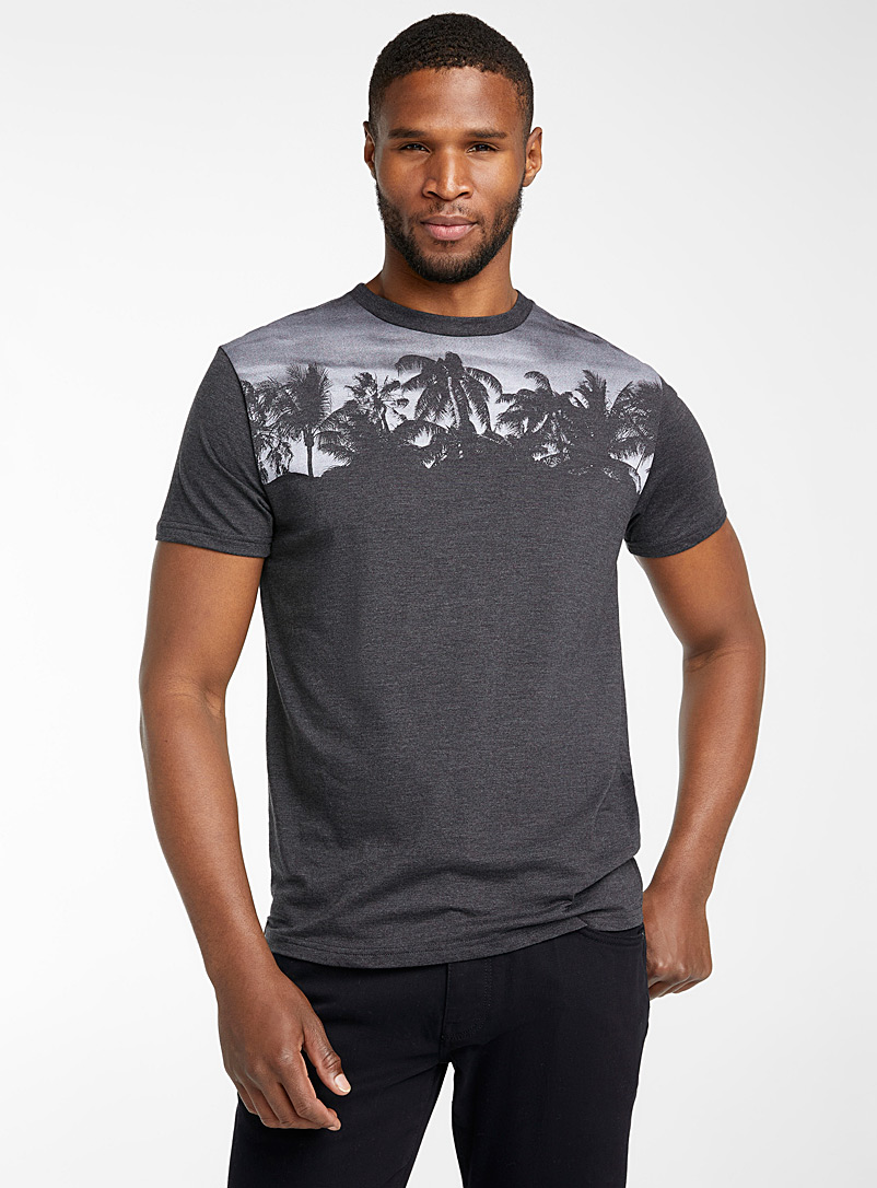 Tentree Black Eco Treeblend palm tree T-shirt for men