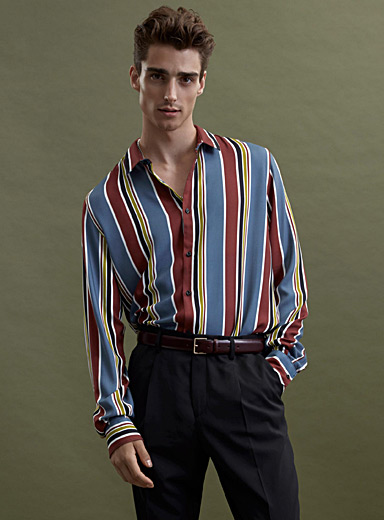 Vertical striped fluid shirt  Modern fit