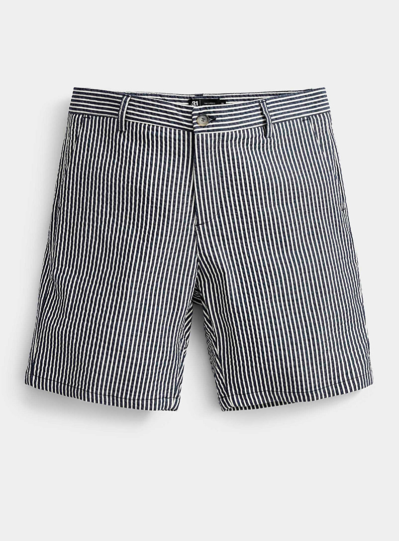 Le 31 Patterned Blue Seersucker stripe short for men