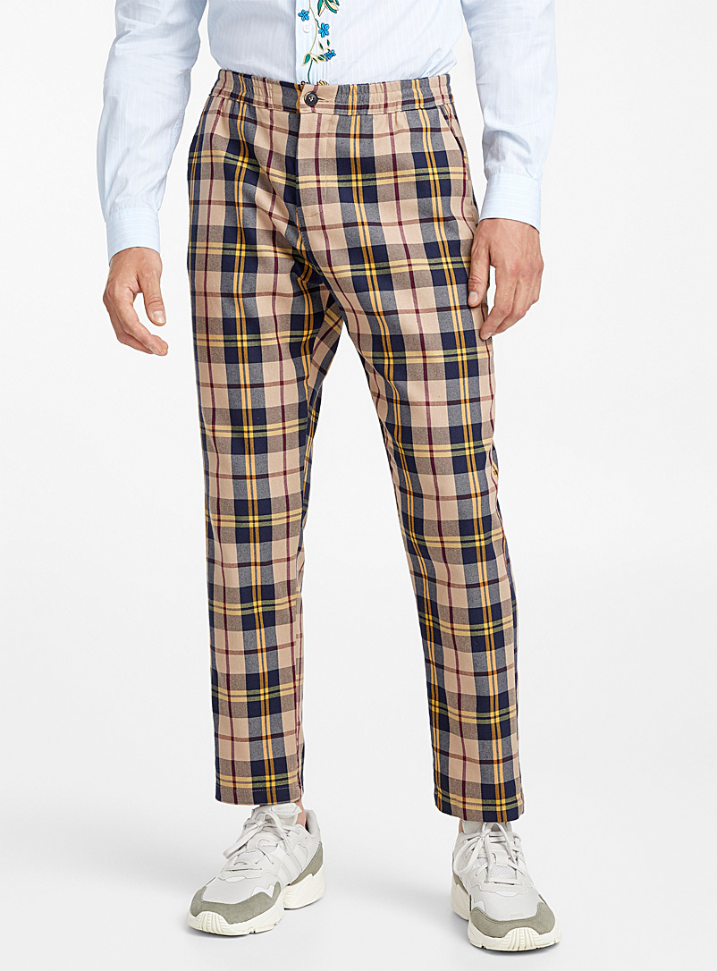 Retro check pant  Slim fit - Slim fit - Sand