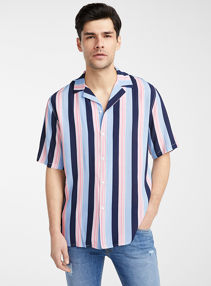 Le 31 Marine Blue Mediterranean stripe camp shirt for men